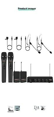 Wireless Microphone System, Phenyx Pro 4-Channel VHF Wireless Microphone Set • 104.99£