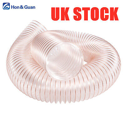 PU Clear Flexible Ducting Hose Ventilation Wood Saw Dust Fume Extraction2M 6.6ft • 15.09£