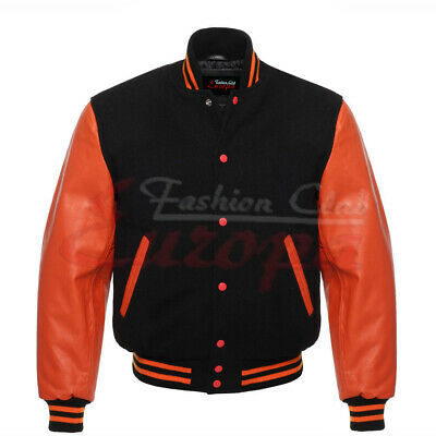Black Varsity Beautiful Letterman College Jacket Wool Body & Real Leather Sleeve • 68.99£