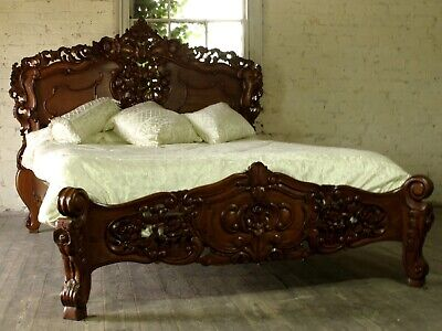 Rococo Antique Carved 5' King Size Louis Chateau Mahogany French Bed  NEW • 695£
