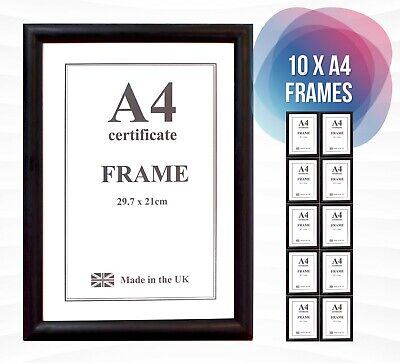 £15 • Buy 10 X A4 Black Certificate Photo Picture Frames With Safety Plexi Glass