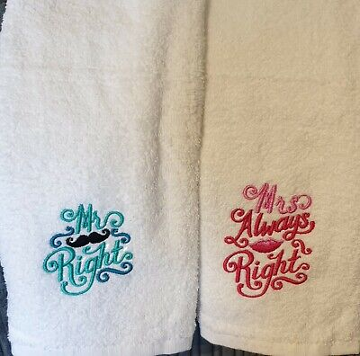 £10 • Buy Embroidered Mr Right/ Mrs Always Right Hand Towels