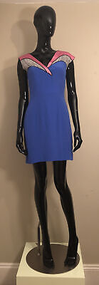 Olivia Rubin 100% Silk Blue & Pink Dress Brand New With Tags UK Size 8 • 99£