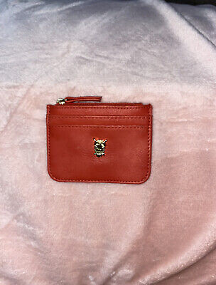 Accessorize Coral Card Holder Purse With Gold Owl.Compartments.Orange / Red.New • 3£