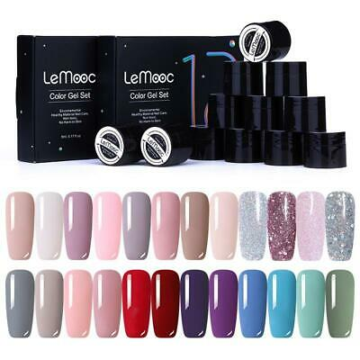 12Box/set LEMOOC Pink Red Gel Nail Polish Set Glitter Soak Off UV Gel Varnish • 9.99£