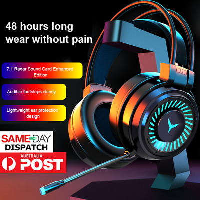 AU36.72 • Buy 3.5mm Gaming Headset MIC LED Game Headphones Surround Sound For PC Laptop AU