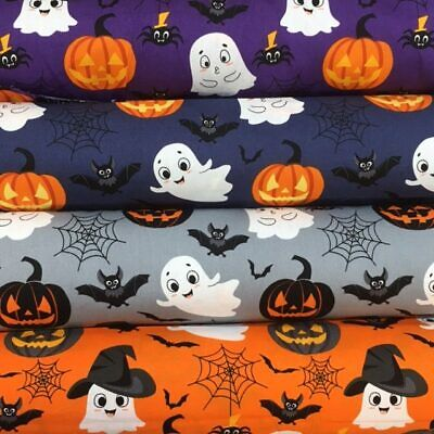 £5 • Buy Halloween Friendly Ghosts 4 Colours 100% Cotton By The Half Metre