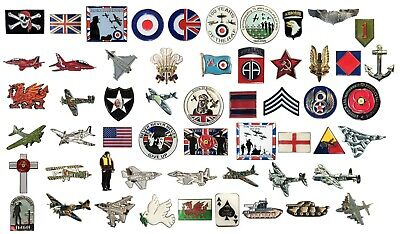 Military Army Navy RAF Aircraft Churchill Spitfire Lancaster SAS WW1 WW2 Badges • 2.49£