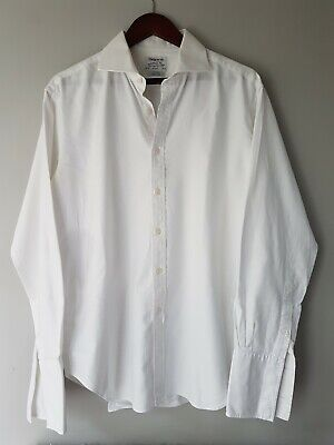 "TM Lewin Mens White Shirt 16.5"" 42"" French Cuff Lux Slim Fit Cotton • 7.99£"