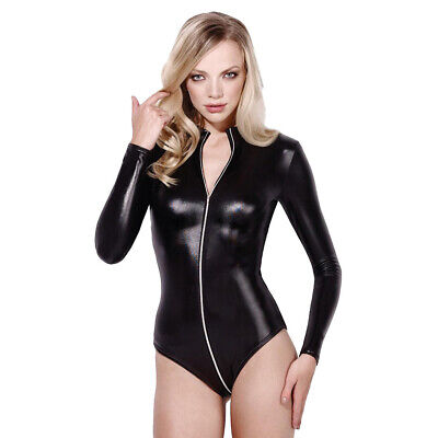 Leather Look Bodysuit With Full Crotch Zip Fever Miss Whiplash - Black • 29.95£