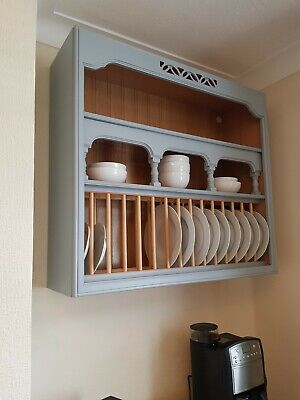 Wall Mounted Large Wooden Plate Rack, Wood And Grey • 75£