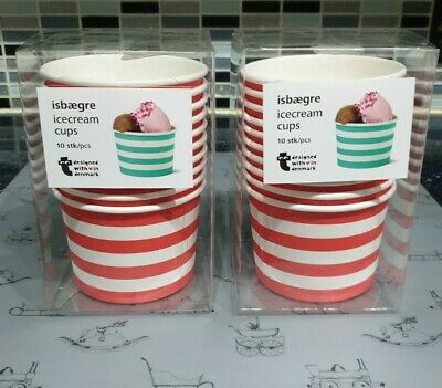 20x Disposable Paper Ice Cream Cups 8oz Red Striped Dessert Tubs Party Catering • 6.99£