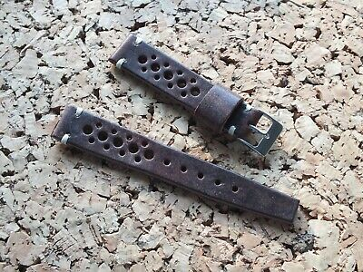Genuine Leather Vintage Rally Watch Strap 18mm Coffee  Brown  By Geckota • 7.50£