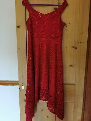 Womens Quiz Red Sequinned Dress Size 16 • 2.20£