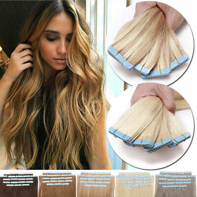 100% Russian Invisible Tape In Remy Human Hair Extensions Thick Skin Weft UK HUA • 15.75£