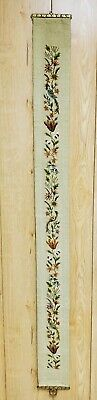 """Vintage Needlepoint Floral W Birds Bell Pull 65"""" Long W Brass Ends • 46.15£"""