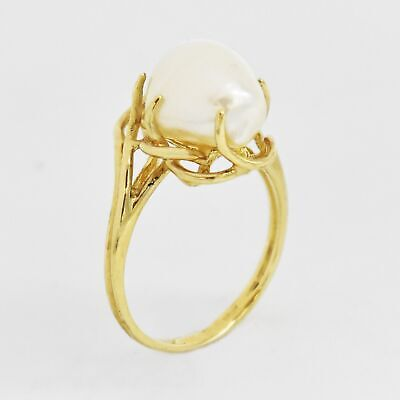 $165.74 • Buy 10k Yellow Gold Estate Open Work Mabe Pearl Ring Size 5.75