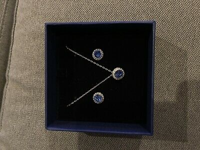 Swarovski Sparkling Women's Jewelry Set - White And Blue Rhodium Plated • 45£