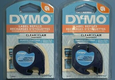 AU23 • Buy 2 GENUINE Clear Dymo Letratag Tapes - FREE Postage