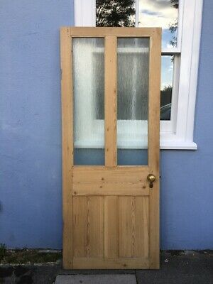 Antique Pine Door With 2 Glass Panels And Brass Fittings • 130£