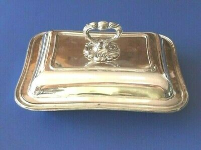 Antique Silver Plated Entree Vegetable Serving Dish Lidded Removable Handle • 29.99£