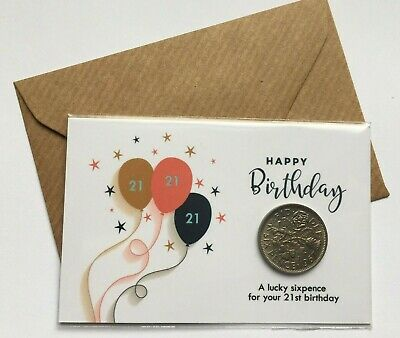 Birthday Lucky Sixpence 13th 16th 18th 21st - Gift Keepsake With Envelope • 2.49£