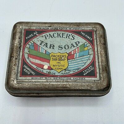Vintage Advertising Tin Packer's Tar Soap Tin Mystic, Conn.  Pure As The Pines  • 4.08£