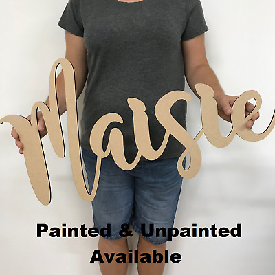 Large Wooden Name Sign - Personalised Room Decor - Nursery Plaque - Painted MDF • 24.50£