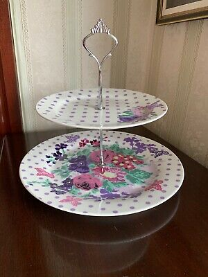 Paperchase Two Tier Cake Stand Fine Bone China Floral White Purple Boxed • 12.99£