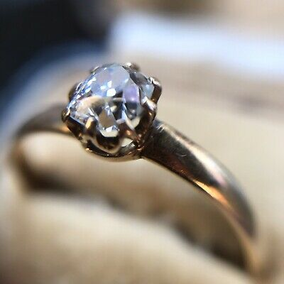 Antique 18ct Gold Old Cut Diamond Solitaire Rings Size  O 1/2 • 299£