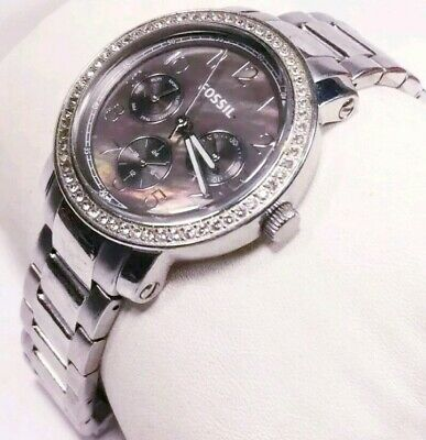 Women Fossil Watch Es3086 Brown Chocolate Face Silver Steel Band Multifunction • 48.74£