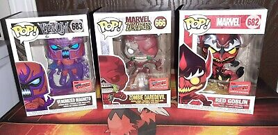 Funko Pop Marvel NYCC Official Con Venomized Magneto Zombie Daredevil Red Goblin • 154.69£