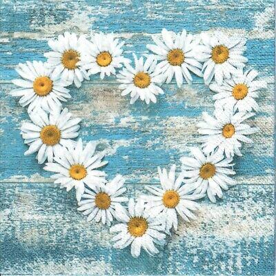 4 Single Paper Decoupage Napkins. Daisy, Flowers, Heart. Blue, Rustic -1035 • 1.40£