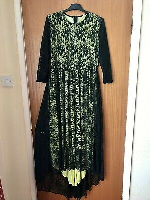 Women Lace High Low Hem Dress Uk Size 12 • 5£