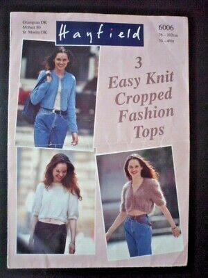 Hayfield (6006) Knitting Pattern For 3 Ladies Easy Knit Cropped Fashion Tops • 0.40£