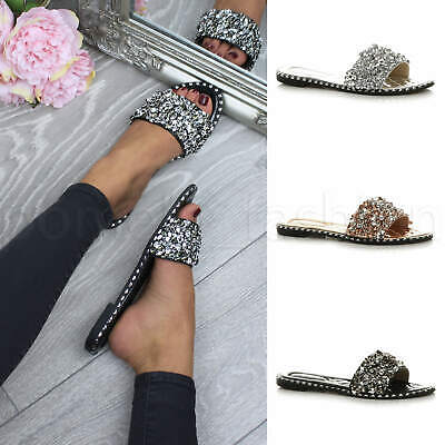 Womens Ladies Flat Diamante Sparkly Holiday Summer Mules Sandals Flip Flops Size • 12.99£