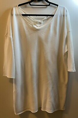 GHOST Ladies White Longline Blouse/Top, Size Large • 0.99£