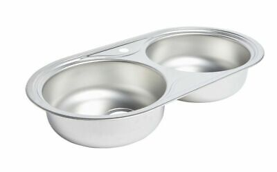 Cooke & Lewis Nye 2 Bowl Stainless Steel Kitchen Sink Linen Finish • 49.99£