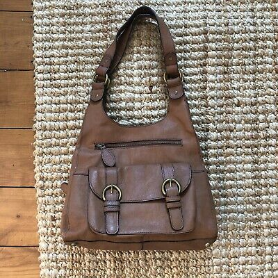 M&S Autograph Shoulder Bag Leather Tan Brown Handbag Side Zip Up Marks & Spencer • 24.99£