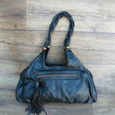 Marks & Spencer M&s Autograph Dark Brown Leather Hobo Bag Tassel Detail • 10£