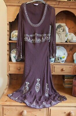 Art Deco -  Indian Style Dress Monsoon - Silk Sequins Beads 10-12 Uk Red Brown  • 15£