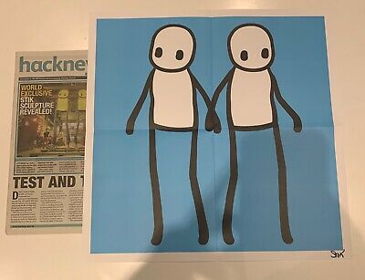 STIK Holding Hands Poster Blue SIGNED Comes With Hackney Today Newspaper • 450£