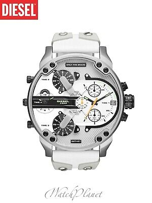 $ CDN175.46 • Buy DIESEL DZ7401 White Leather And Silicone Mr. Daddy 2.0 Multiple Time Men's Watch