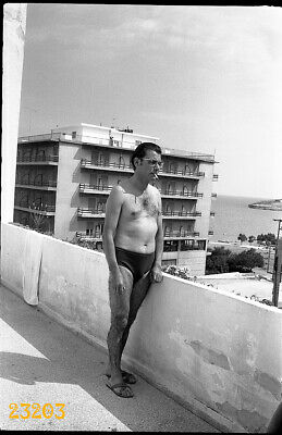 $ CDN8.87 • Buy Shirtless Man W Hairy Legs, Cigarette, Swimsuit, 1960s Vintage Negative!