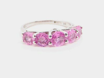 18ct White Gold Pink Sapphire Five Stone Ring By Iliana Size L • 375£