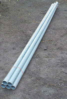 5 - 3m LENGTHS GREY PLASTIC SPIGOT AND SOCKET PIPES (see Description) • 10£