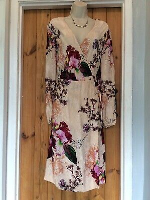 Next Floral Peach Wrap Midi  Dress Size 16 • 8£