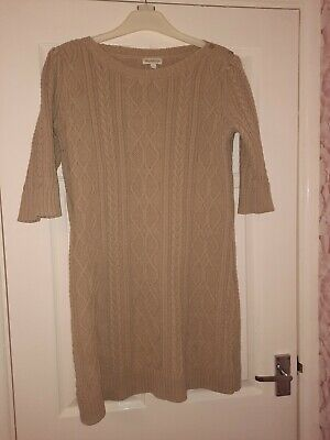 MONSOON Large  Beige Chunky Cable Knit Jumper Dress Cotton Wool Winter Warm  • 10£