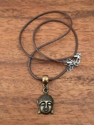 Antique Bronze Buddha Cord Pendant Necklace - Wiccan Pagan Buddhist Hippy Boho • 2.50£