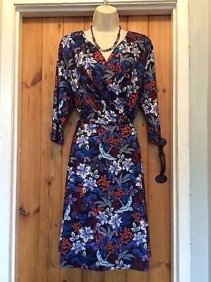 Yumi Floral  Bird Print Next Wrap Midi  Dress Size 16 • 10£